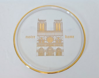Vintage Notre Dame Plate - 1970 - Orrefors plate, Paris,France, collector, crystal, limited edition, Sweden,historical churches of the world