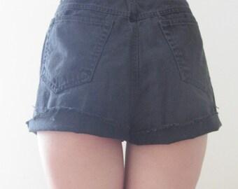 Vintage Black High Waisted Denim Shorts