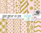 Pink and Gold Glam Digital Paper – geometric pastel pink and gold glitter digital paper – glitter paper -  printable paper - commercial use