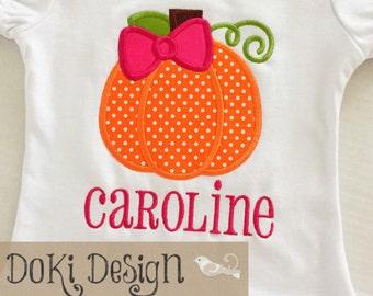 Pumpkin bow ruffle shirt