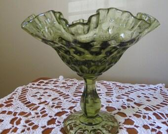 Fenton Ruffled Compote, Fenton Thumbprint Compote,  Olive Green Compote, Colonial Green Compote, Vintage Glass,  Fenton, Crimped Compote
