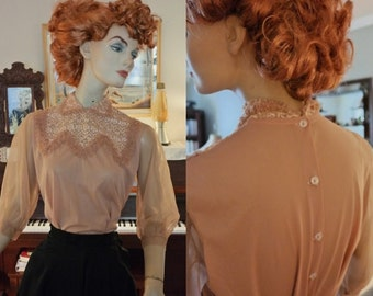 Tawny Peach Sheer 50's Nylon Blouse with Ruffles and Rhinestones!