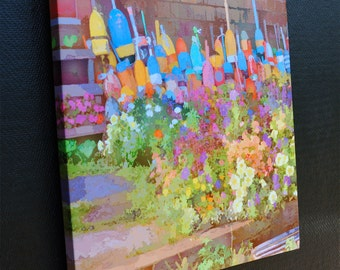 Fine Art Digigraph Print on Canvas Wall Art of Rustic Rockport Lobster Buoys and Flowers in Bearskin Neck Massachusetts Gloucester MA
