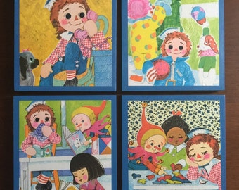 Raggedy Andy Vintage Book Panels! Set of 4.