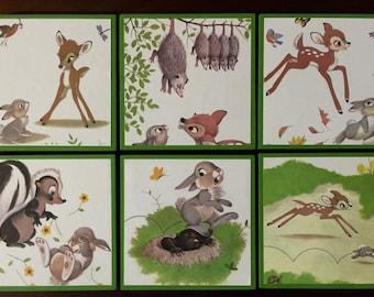 Disney's Bambi Vintage Book Panels! Set of 6.