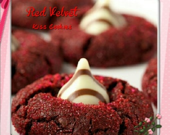 Red Velvet kiss Cookies  1 Dozen Gourmet melt in your mouth