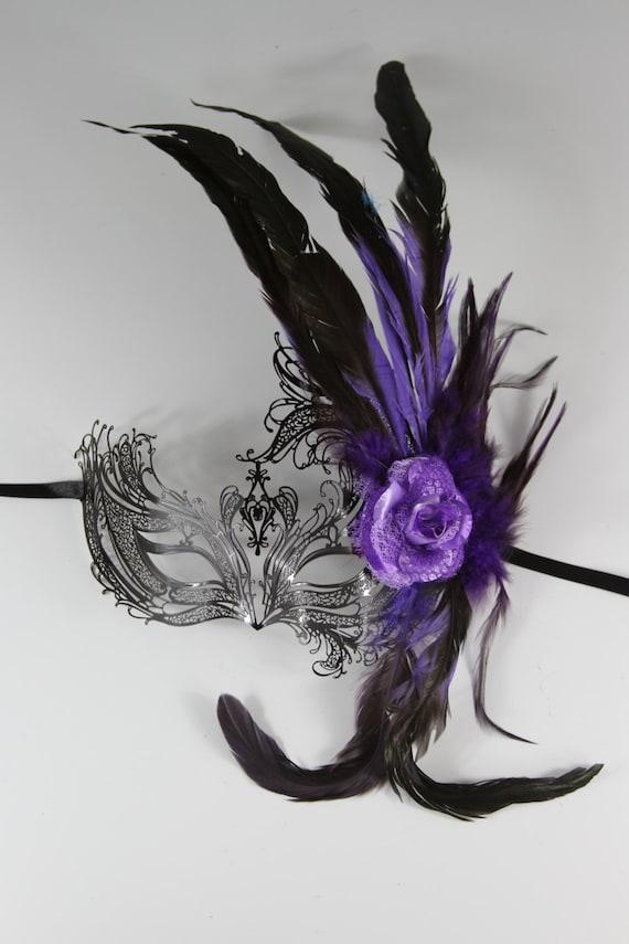 Purple Feather Black Phoenix Masquerade Mask/ by ... - photo#44