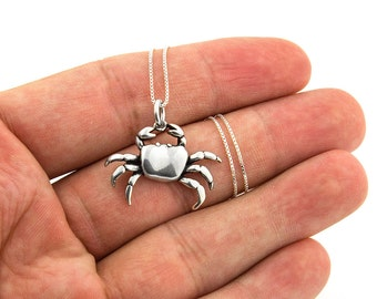 Sterling Silver 925 Crab Necklace Crab charm pendant Zodiac Cancer Necklace with box chain (N-75)