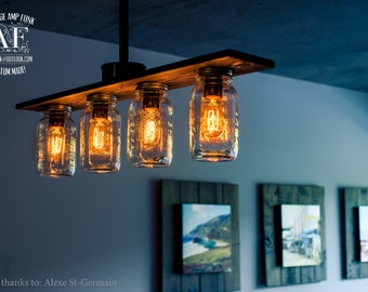 Pipe Mason Jar/Cage chandelier light vintage Industrial, Antique Edison Bulb, Mason Jar Lamp, Rustic Lighting