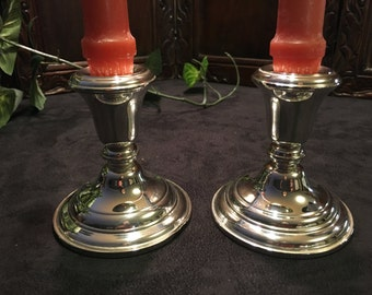 Pair of Vintage Sterling Silver Taper Candlesticks