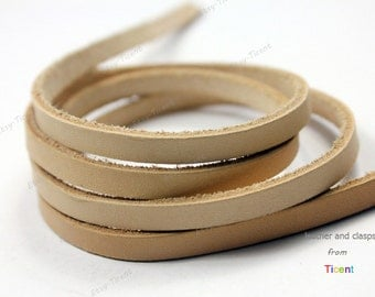8mm Natural Flat Leather, Natural Genuine Leather Strip, Sell By Yard GF8M-6