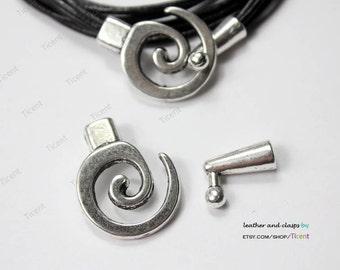 3 sets Antique Silver Leather Bracelet Hook Clasps-MT568