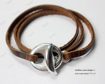 3 sets Antique Silver Leather Bracelet Hook Clasps -MT571