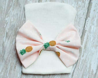 Newborn Hosptial Hat - Pineapple bow - bow tie, Newborn hat - coming home outfit - white hat - baby girl - Newborn Prop - hat with bow - bow