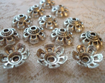 Antique Silver Finish Super Lovely Cast Flower Cap 11x5mm. 6 Open Petals, 30pc ~ Ships From Oregon