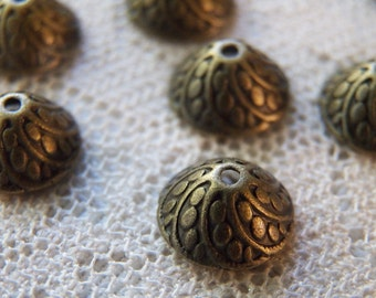 30 Ornate Bronze Dome Caps  11x6mm.  Lovely Swirled Vintage Style, Quality Made Bronze Caps.  USPS Ship Rates from Oregon