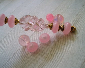 12 Light Pink Twisted Glass Beads. Handmade. Medium Size. Pink Lampwork Twist Glass. 20x11mm. Unique Spiral Shape. ~USPS Ship Rates /Oregon