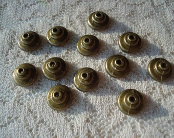 50 or 100 Stepped Caps. Beautiful Rich Bronze. Simple, Smooth, Stepped Design 9x 5mm  ~USPS Standard Ship Rates~from Oregon
