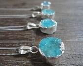 Mini Aqua Druzy Sterling Silver Pendant Necklace/Blue Druzy/Sterling Silver Chain/Round/Blue