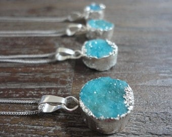 Mini Aqua Druzy Sterling Silver Pendant Necklace/Blue Druzy/Sterling Silver Chain/Round/Blue