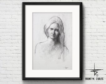 ORIGINAL Art, Drawing, Charcoal on Paper 120g, (30cm X 42cm)