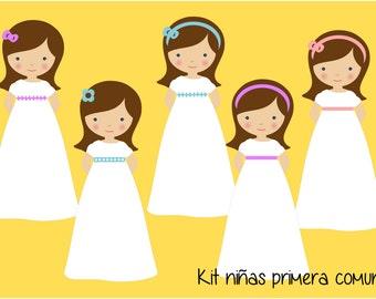 Girls first communion (brown hair) Kit