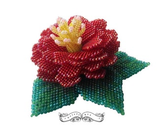 Beading Tutorial Pattern - Red Camellia for Love  - Beading Tutorial, Beading pattern, PDF