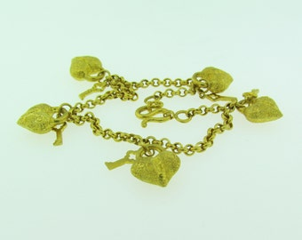 Heart and Key Charm Bracelet, 23 K Gold