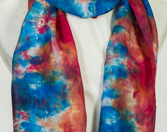 100% Silk Scarf in oxblood red, cerulean blue and white