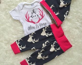 Buck Navy & Fuchsia 'Oh Deer' Set