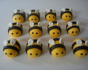 6 Edible Fondant Bumble Bee Cupcake Toppers