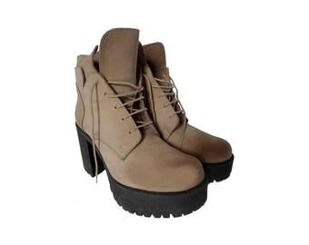 90s Jamie Kilif  Lace up suede High Platform ankle BOOTS // size eu 39 - uk 5.5- us 7.5