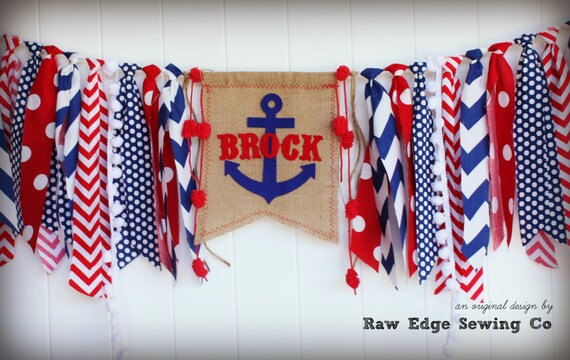 anchor high chair highchair birthday banner nautical photo prop name banner backdrop red white blue baby - Baby Chair With Name