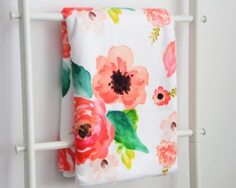 Sherpa Cuddle Blanket - Floral Dreams in Pink, Coral, Peach and Blush Watercolor Flowers