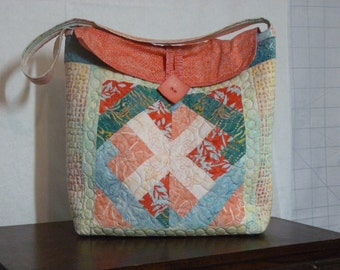 Quilted Tote, handbag, purse, embroidery embellishments, batik fabric, machine washable