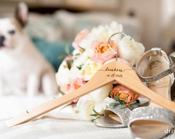 6 Personalized Bridesmaid Hangers, Engraved Wood Hangers