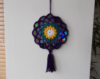 15% OFF - Double Sided Sun Catcher Mobile - Crochet Mandala Suncatcher - Repurposed CD - Window Decor - Crocheted Doily Ornament