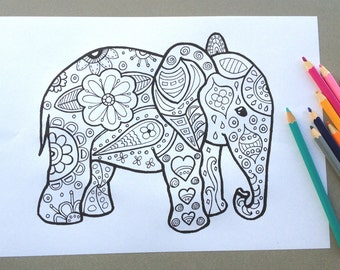 elephant design colouring page adult colouring page kids colouring page gifts for kids kids craft activity - Coloring Page Elephant Design
