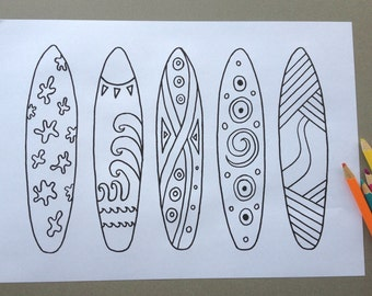 surfboard design colouring page adult colouring page kids colouring page gifts for kids - Surfboard Coloring Pages Print