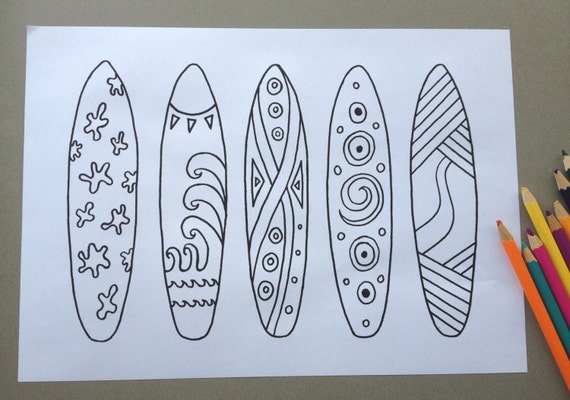 Surfboard Design Colouring Page Adult Colouring Page Kids