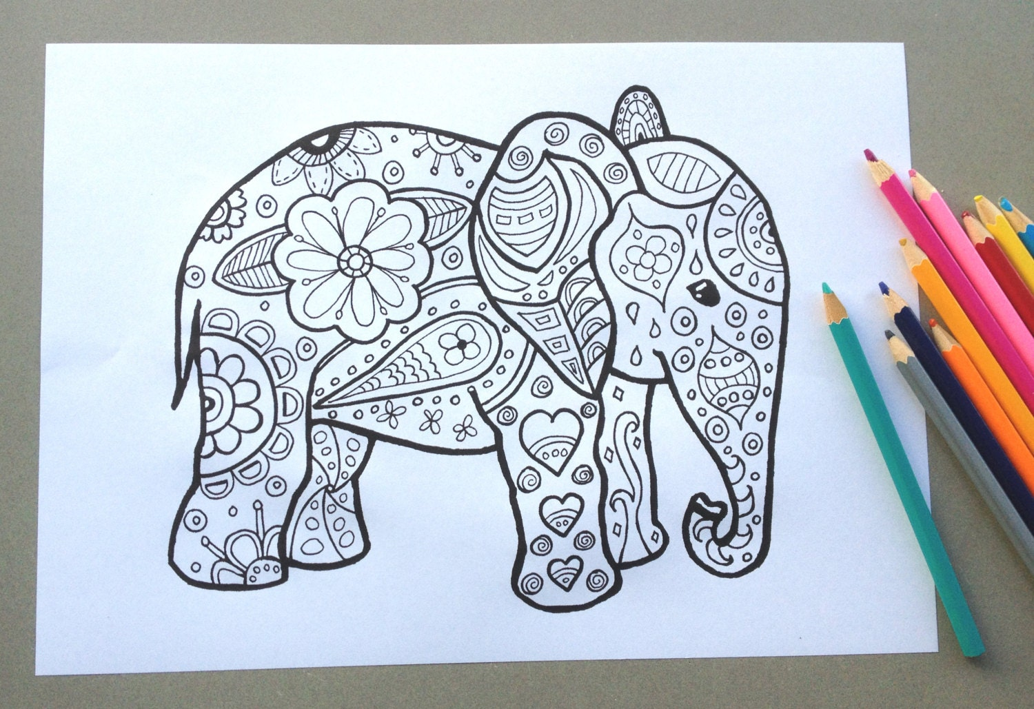Elephant Design Colouring Page