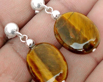 Earrings sterling silver .925 Tiger eye
