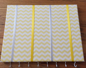 Yellow Chevron Hair Bow Holder Hair Bow Organizer Choose Your Ribbon Color