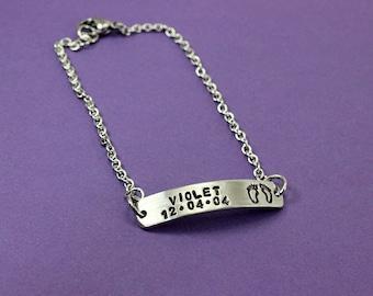Personalized Bracelet - Baby Bracelet - New Mom Bracelet - Baby's Name And Birthdate Bracelet - Baby Feet - New Mommy Keepsake Gift