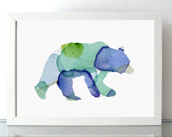Bear Watercolor illustration - Blue green Art Print - Home decoration Wall Decor- Animal Painting Bear Art - Nursery Room - Fantasy