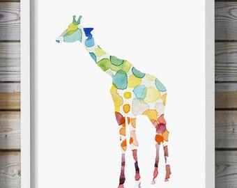 Giraffe Watercolor Painting - Giclee Print - Home Decor Wall Decor - Aquarelle illustration - Nursery Art - Animal Painting - Giraffe Art