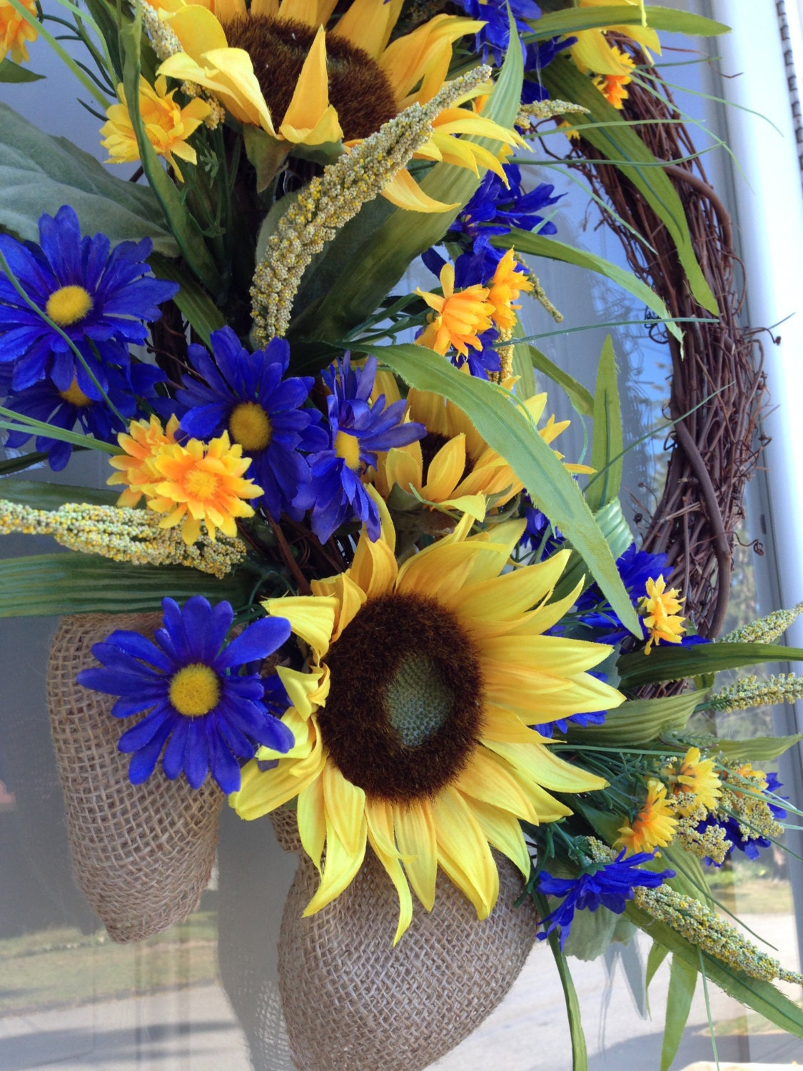 Sunflower Door Wreath French Country Floral Wreath Grapevine