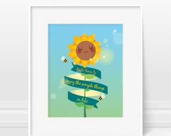 Nursery print, sunflower print, inspirational quote, nursery decor, kids illustration, new baby gift, nursery art print, kids wall art, baby