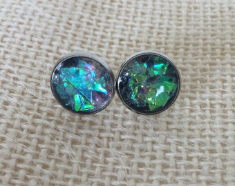 Light Changing Colorful Sparkle Resin Stud Earrings