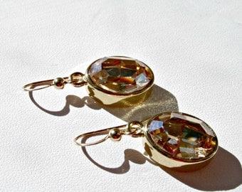 Swarovski Crystal Earrings, Swarovski Topaz Crystal Earring, Colorado Topaz, Swarovski, Topaz, Bridesmaid Earring, Gold, Wedding, Earring